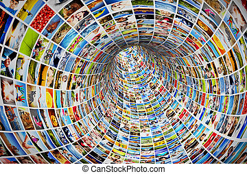 Tunnel of media, images, photographs. Tv, multimedia ...