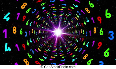 Tunnel of multi-colored numbers. AI digital source.