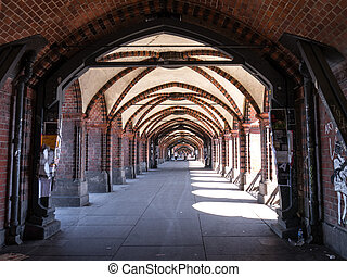 tunnel of oberbaumbruecke in berlin (in friedrichshain)