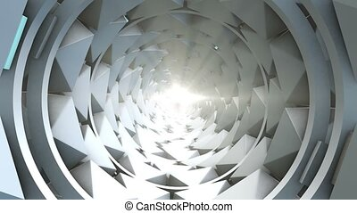 Tunnel of rotating polygons