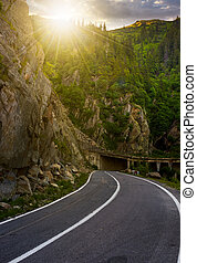 tunnel on Transfagarasan road of Romania. dangerous...