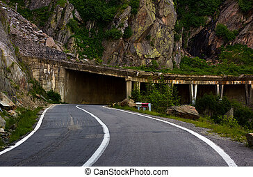 tunnel on Transfagarasan road of Romania. dangerous...