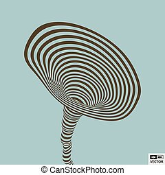 Tunnel. Optical illusion. Abstract striped background. 3D vector illustration.