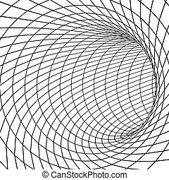 Tunnel or wormhole 3D surface tunnel. Grid texture Vector illustration
