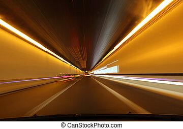tunnel, par, conduite, nuit
