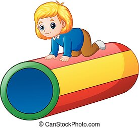 tunnel, piccola ragazza, colorito