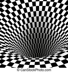 tunnel., plein, abstract, wormhole, illustratie, vector, black , illusion., geometrisch, witte , optisch