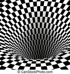 tunnel., quadrato, astratto, wormhole, illustrazione, vettore, nero, illusion., geometrico, bianco, ottico