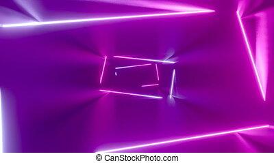 tunnel/, -, résumé, néon, animation, en mouvement, 4k, rectangles, 3d