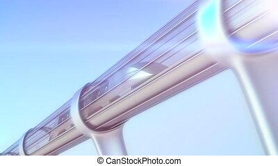 tunnel., rendre, train, monorail, futuriste, 3d