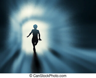 Editable vector silhouette of a woman running in a tunnel with background made using a gradient mesh