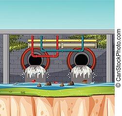 tunnel, scène, eaux égout