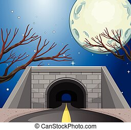 tunnel, scène, nuit