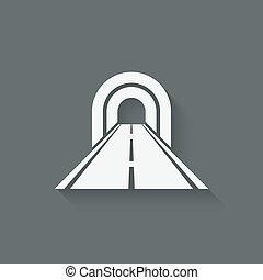 tunnel, simbolo, attraverso, strada