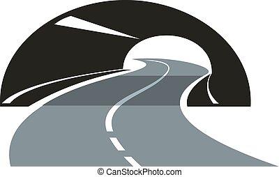 tunnel, slingrande, genom, väg, ikon