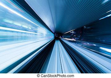 tunnel, snel, trein, verhuizing