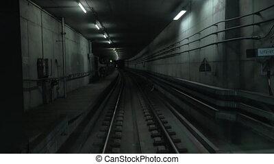 tunnel, sombre, train, en mouvement, métro, cabine, vue