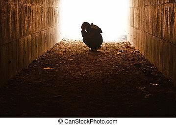 tunnel, sorg, waif, siddende