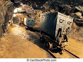 tunnel souterrain, exploitation minière, industrie, mine