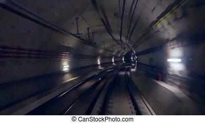 Tunnel speed metro train - Modern driver metro train speed