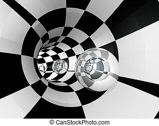 tunnel, sphère, contrôleur, verre