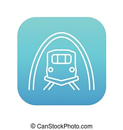 tunnel, spoorweglijn, icon.