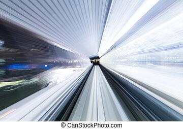 tunnel, städtisch, zug, geschwindigkeit, bewegung