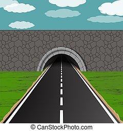 tunnel, strada, illustrazione