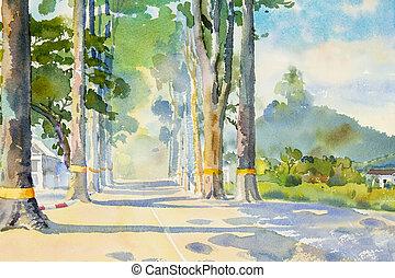 tunnel, tableau aquarelle, village., arbres