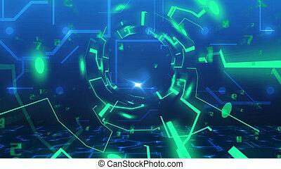 tunnel, tecnologia, imitazione, scheda circuito