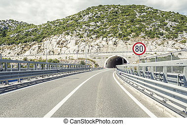 Tunnel through the mountain.