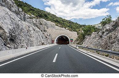 Tunnel through the mountain.