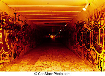 tunnel to hell - underground tunnel; red, white black...