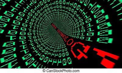 tunnel, toile, technologie, données