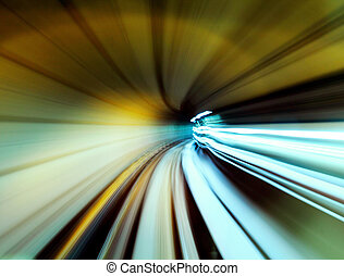 tunnel,  train, en mouvement, jeûne
