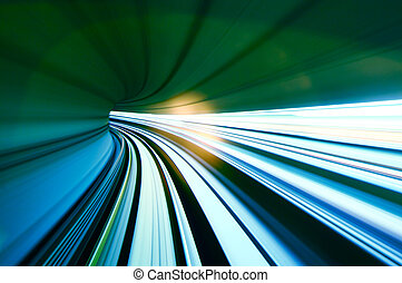 tunnel,  train, en mouvement