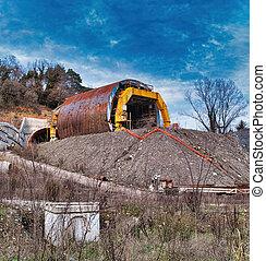tunnel, tunnel., site, construction, fonctionnement
