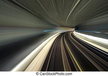tunnel, tunnelbana, böja