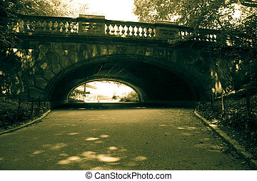 Tunnel under the bridge in vintage style, Central Park, New york