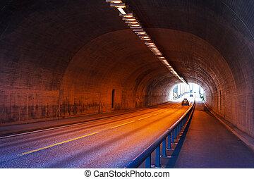 tunnel, urbain, autoroute, route