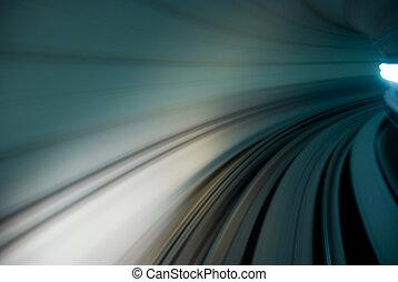 tunnel, urban, trafik, rörelse