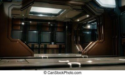 tunnel, vaisseau spatial, sci-fi, ou, couloir
