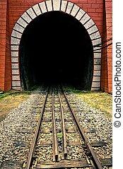 tunnel, van, de, trein, met, spoorweg