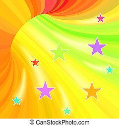 tunnel, vliegen, strepen, stars., veelkleurig, achtergrond