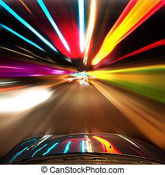 tunnel, voiture, voyager