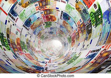 tunnel, von, euro- banknoten, gegen, light., geld.