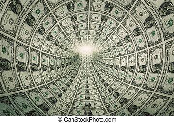 tunnel, von, geld, dollar, gegen, licht