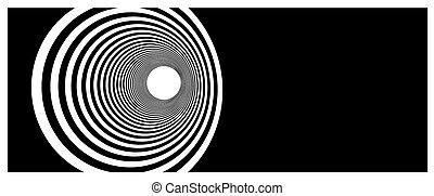 tunnel, vortice, nero, bianco
