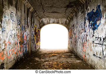 Tunnel with Graffiti - Tunnel covered with graffiti. ...