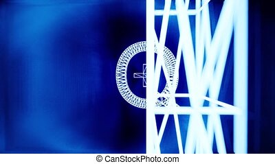 Tunnel with neon sign LGBTQ plus. Radial lines. Abstract technology background. Futuristic space. Show party.